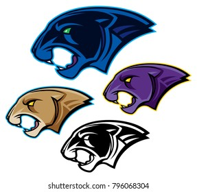 Panther or Cougar Head Mascot