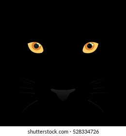 Panther eyes, mustache and nose on black background. Vector Illustration.