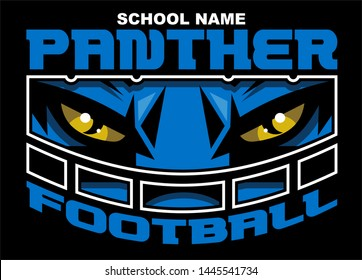 panther football team design with mascot face wearing facemask for school, college or league