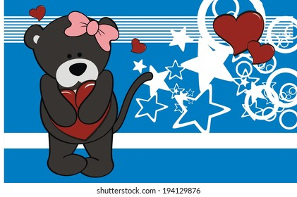 panther girl baby cartoon love wallpaper in vector format very easy to edit