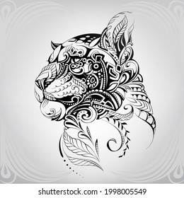 Panther head in floral ornament