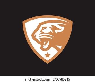 Panther head logo. Cougar emblem design editable for your business. Vector illustration.