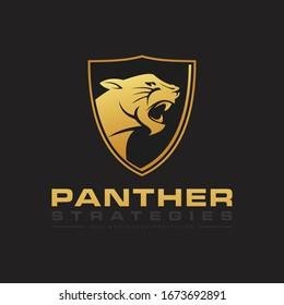 Panther icon logo. Panther in shield mascot logo design.