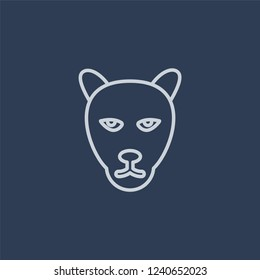 Panther icon. Trendy flat vector line Panther icon on dark blue background from animals collection.