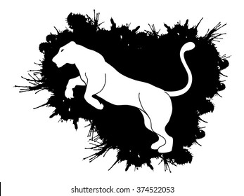 Panther or Lioness jumping designed on splash ink background graphic vector.