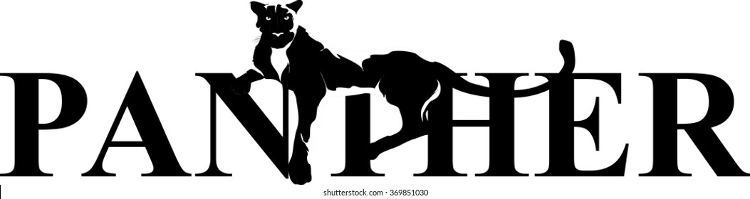 Panther lying on word. Isolated on white vector illustration