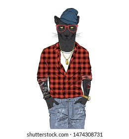 Panther man dressed up in plaid shirt beanie hat and jeans. Anthropomorphic urban fashion wild cat animal illustration. City Hipster Black Leopard.
