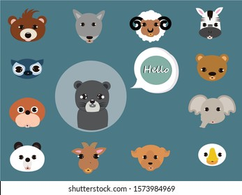 Panther say hello concept. Creative idea design for animal face. Flat vector illustration for your project, brochure, web page  or presentation.
