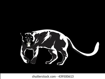 Panther scetchy vector illustration, logo design