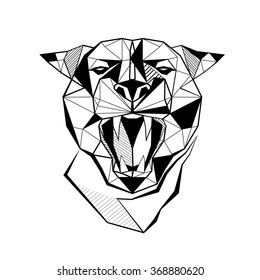 Panther stylized triangle polygonal model