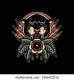 panther tattoo illustration vector design