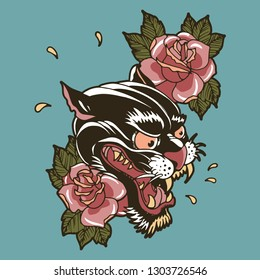 Panther tattoo vector retro