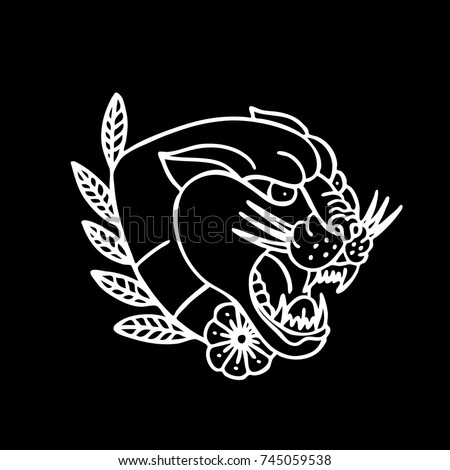 Panther Traditional Tattoo Flash Vector De Stock Libre De Regalias