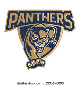 Panthers in Shield Mascot Logo