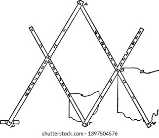 Pantograph is used to reducing or enlarging images by using a pivot is an instrument for copying a drawing or plan on a different scale by a system vintage line drawing or engraving illustration.