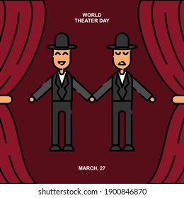 Pantomime in theater illustration. Easy to edit with vector file. Can use for your creative content. Especially about world theater day campaign in this march.