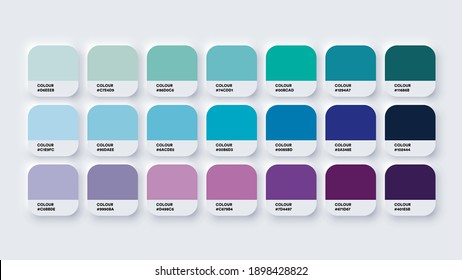 Pantone Colour Guide Palette Catalog Samples Blue and Purple in RGB HEX. Neomorphism Vector - Shutterstock ID 1898428822