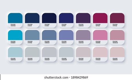 Pantone Colour Guide Palette Catalog Samples Blue and Purple in RGB HEX. Neomorphism Vector
