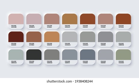 Pantone Colour Palette Catalog Samples Brown and Grey in RGB HEX. Neomorphism Vector