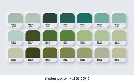 Pantone Colour Palette Catalog Samples Green in RGB HEX. Neomorphism Vector