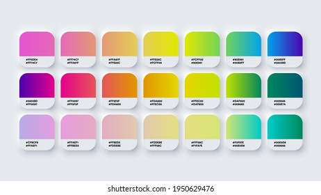 Pantone Gradient Colour Palette Catalog Samples in RGB or HEX Pastel and Neon