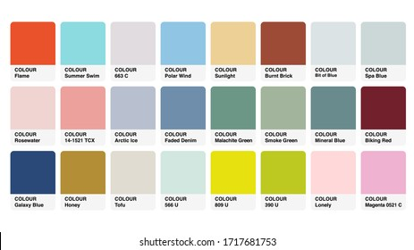 Pantone Pastel Colour Catalog Guide Book Cards Samples Inspiration Illustration Template in RGB Vector for Everyday Use