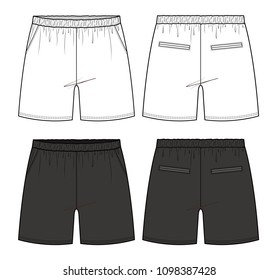 Pants Boxer shorts fashion vector illustration flat sketches template