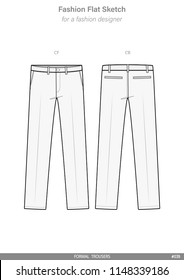 PANTS FORMAL TROUSERS FASHION FLAT SKETCHES technical drawings teck pack Illustrator vector template