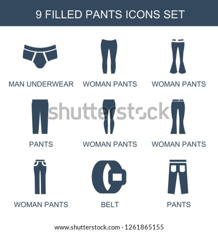 Immagine vettoriale a tema Pants Icons Trendy 9 Pants Icons
