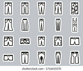 Pants Long & Short Icons Black & White Sticker Set Big