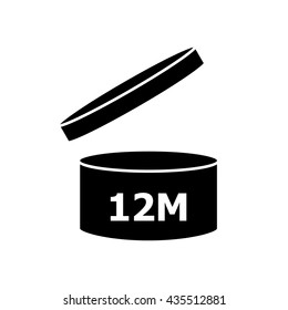 PAO cosmetics symbol 12M, Period after opening symbol 12M . Vector illustration