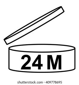 PAO cosmetics symbol 24M, Period after opening symbol 24M, vector illustration