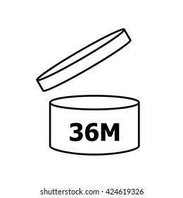 PAO cosmetics symbol 36M, Period after opening symbol 36M . Vector illustration