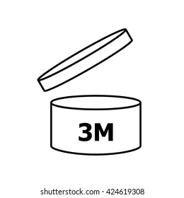 PAO cosmetics symbol 3M , Period after opening symbol 3M  . Vector illustration