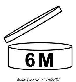 PAO cosmetics symbol 6M, Period after opening symbol 6M, vector illustration.