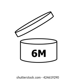 PAO cosmetics symbol 6M , Period after opening symbol 6M  . Vector illustration