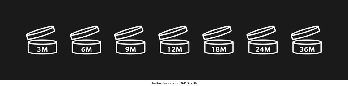 PAO Linear Icons Set. Period after opening. The shelf life of the cosmetics after opening the package in months. 3m, 6m, 12m, 18m, 24m, 36m month best before product mark. Vector illustration