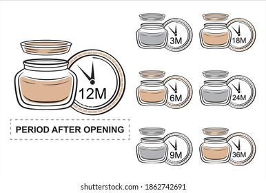 Pao, period after opening colored icon set. Product shelf life. Cosmetic jar of cream with open lid and clock showing useful lifetime. Expiration date badge of cosmetical packaging. Vector