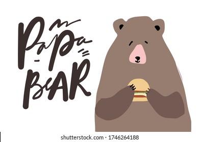 Papa Bear. Flat illustration. Father's Day card.Bear with burger