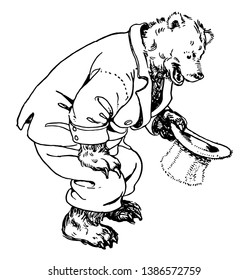 Papa Bear kneeling down, this picture shows a bear kneeling down and holding out his top hat, vintage line drawing or engraving illustration