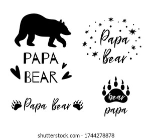 Papa bear text collection. Black bear silhouette paw symbol. Simple papa bear set. Cute fathers day card. Vector
