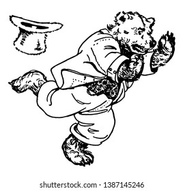 Papa Bear, this picture shows a bear in human dress and running, his hat flies off, vintage line drawing or engraving illustration