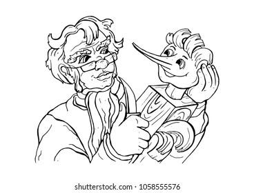 Papa Carlo cuts out Pinocchio