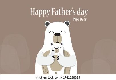 PAPA MAMA BEAR, PAPA BEAR HAPPY Father's day card template design.