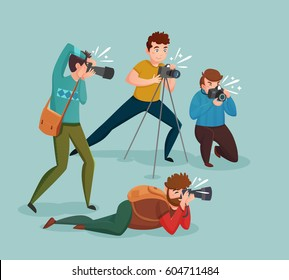Paparazzi design concept with photographers group shooting appearance of show business stars or other celebrities flat vector illustration