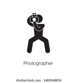 Paparazzi icon vector. Photographer symbol. Linear style sign for mobile concept and web design. paparazzi symbol illustration. Pixel vector graphics - Vector.