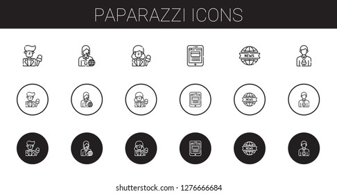 paparazzi icons set. Collection of paparazzi with news reporter, news report. Editable and scalable paparazzi icons.