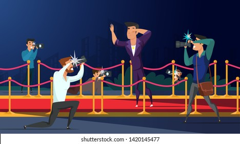 Paparazzi taking picture of celebrity flat vector illustration. Famous man posing to photographers on red carpet. Actor, singer cartoon character. Hollywood star at premiere. Party, festival, ceremony