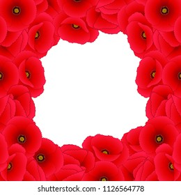 Papaver rhoeas Border (or common poppy,corn poppy,corn rose,field poppy,Flanders poppy or red poppy) isolated on White Background. Vector Illustration.