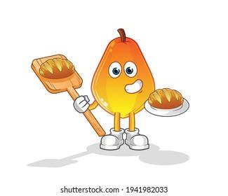 papaya baker with bread cartoon. cartoon mascot vector